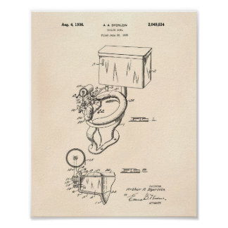 Toilet Bowl 1936 Patent Art Old Peper Poster