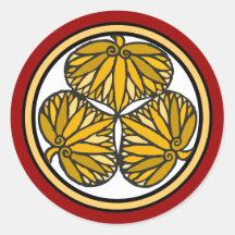 Tokugawa Shogun Family Crest, Kyoto, Edo Round Stickers