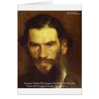 """Tolstoy """"Change Yourself"""" Wisdom Quote Gifts & Tee Greeting Card"""