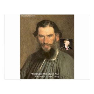 """Tolstoy """"Nietzsche = Stupid"""" Quote Gifts Tees Etc Postcard"""