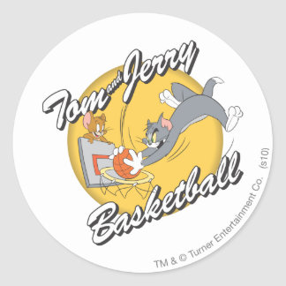 Tom and Jerry Basketball 2 Classic Round Sticker