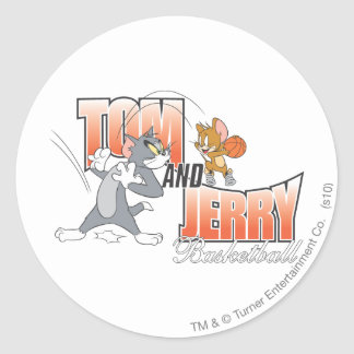 Tom and Jerry Basketball 3 Classic Round Sticker