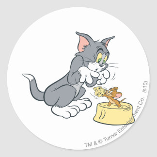 Tom and Jerry Feed The Cat Classic Round Sticker