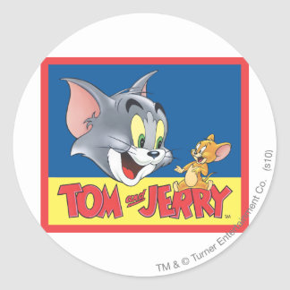 Tom And Jerry Logo Shaded Classic Round Sticker