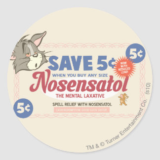 Tom And Jerry Nosensatol Coupon Classic Round Sticker