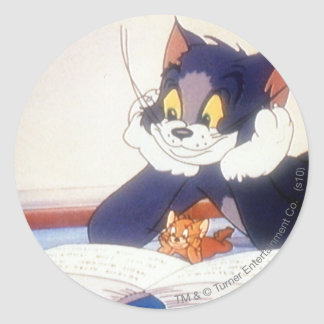 Tom And Jerry Read a Book Classic Round Sticker