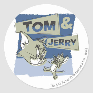 Tom and Jerry Scaredey Mouse Classic Round Sticker