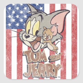 Tom & Jerry With US Flag Square Sticker