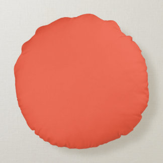 Tomato Red Solid Color Round Cushion