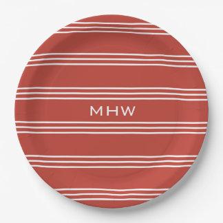 Tomato Red Stripes custom monogram paper plates