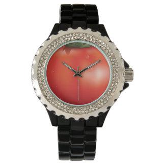 Tomato Rhinestone Black Enamel Watch