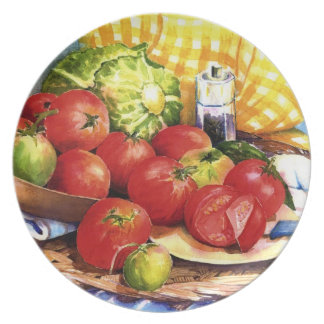 Tomatoes for Slicing in Watercolors Plate
