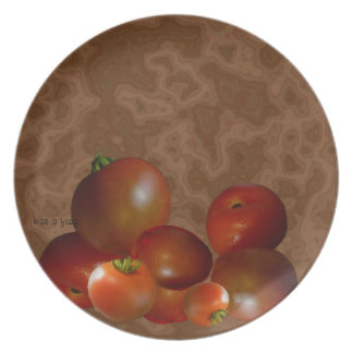 Tomatoes on a plate -good enough to eat
