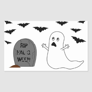 Tombstone, Ghost & Bats - Halloween Rectangle Stickers