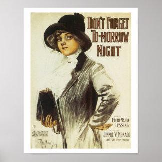 Tomorrow night Vintage Music Art Poster