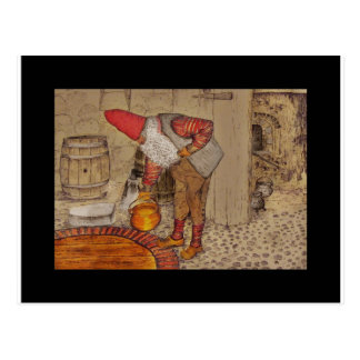 Tomte Doing Housework Postcard