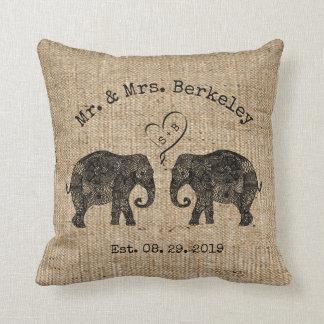 TONS OF LOVE | Elephant Couple Custom Wedding Gift Throw Cushions