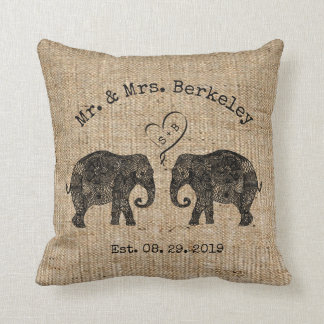 TONS OF LOVE | Elephant Couple Custom Wedding Gift Throw Pillow
