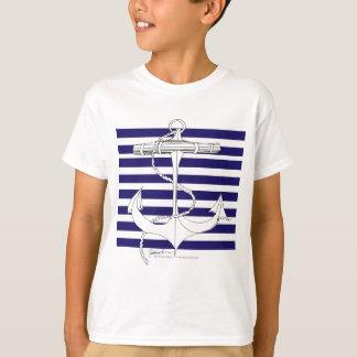 Tony Fernandes 8 blue stripe anchor T-Shirt