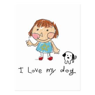 too cute girl and dog postcard