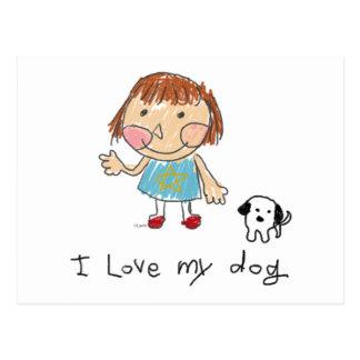 too cute girl and dog 포스트카드