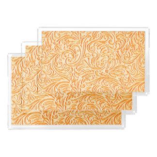 Tooled Leather Celosia Orange Vintage Tile Look Acrylic Tray