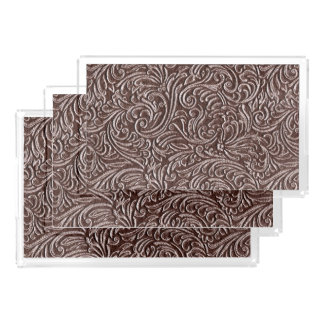Tooled Leather Dark Brown Chocolate Rustic Look Acrylic Tray