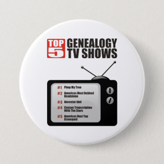 Top 5 Genealogy TV Shows 7.5 Cm Round Badge