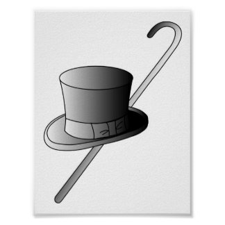 Top Hat and Cane Poster