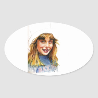 Top-hat girl oval sticker