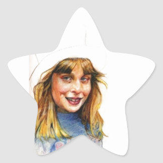 Top-hat girl star sticker