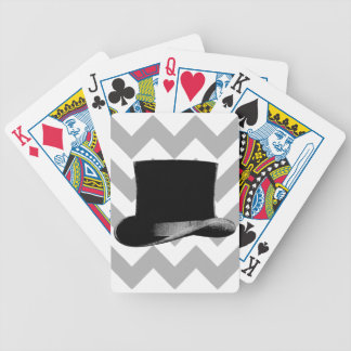 Top Hat Gray Chevron Playing Cards