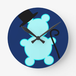 Top Hat Teddy Bear Clock Round Wallclock