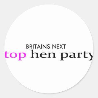 top hen party classic round sticker