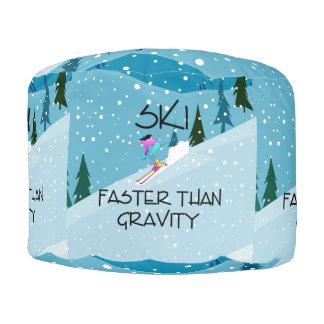 TOP Ski Faster Round Pouf