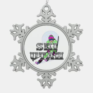 TOP Ski Utah Snowflake Pewter Christmas Ornament