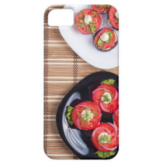 Top view of a plate of stewed eggplant barely there iPhone 5 case