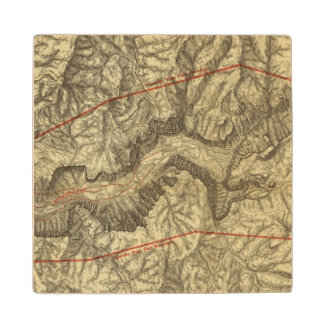 Topographical Map of The Yosemite Valley 2 Wood Coaster