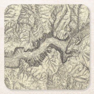 Topographical Map of The Yosemite Valley Square Paper Coaster