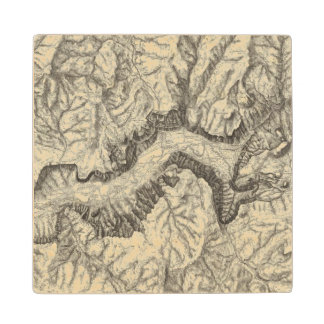 Topographical Map of The Yosemite Valley Wood Coaster