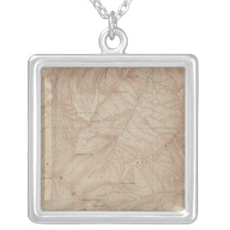 Topography Map, Yellowstone National Part, Wyoming Silver Plated Necklace