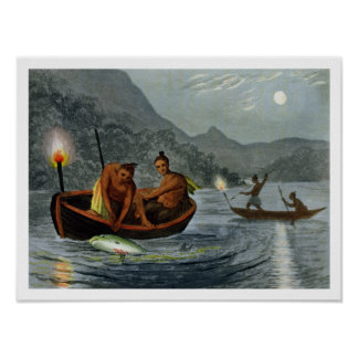 Torch Light Fishing in North America, engraved by Poster