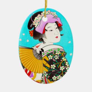 Torii Kiyomitsu Moon Flower Japanese Lady portrait Ceramic Oval Decoration