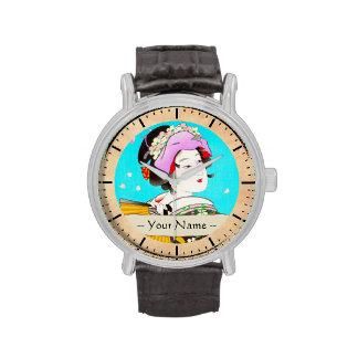 Torii Kiyomitsu Moon Flower Japanese Lady portrait Wristwatches