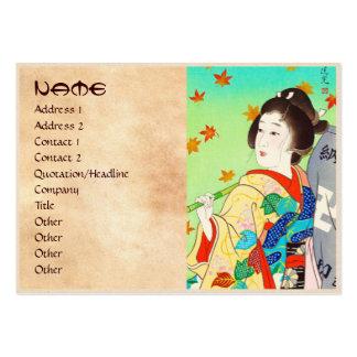 Torii Kiyomitsu Snow Moon Flower Autumn Lady Pack Of Chubby Business Cards
