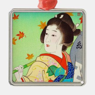 Torii Kiyomitsu Snow Moon Flower Autumn Lady Silver-Colored Square Decoration