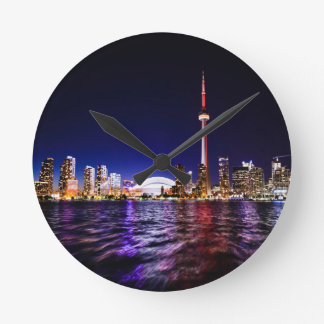 Toronto Skyline at Night Round Clock