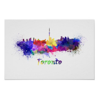 Toronto skyline in watercolor poster