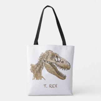 Tot bag design of the dinosaur T. Rex.