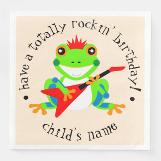 Totally Rockin' Birthday Tree Frog with Red Guitar Paper Napkins